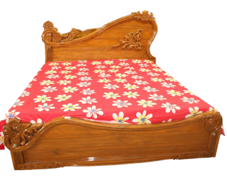 Beige Wooden bed